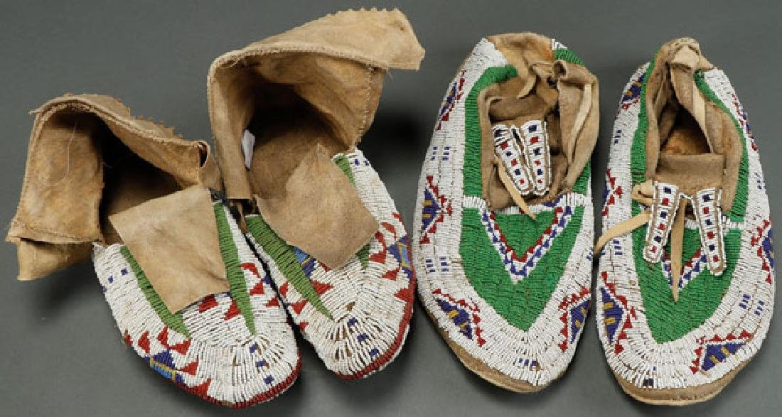 TWO PAIR OF SIOUX BEADED MOCCASINS, CIRCA 1890