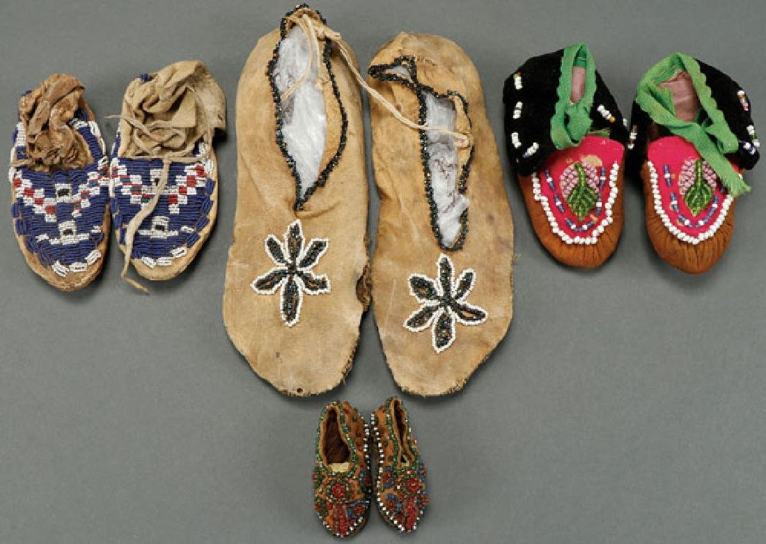 FOUR PAIR OF BEADED MOCCASINS, CIRCA 1900-1920