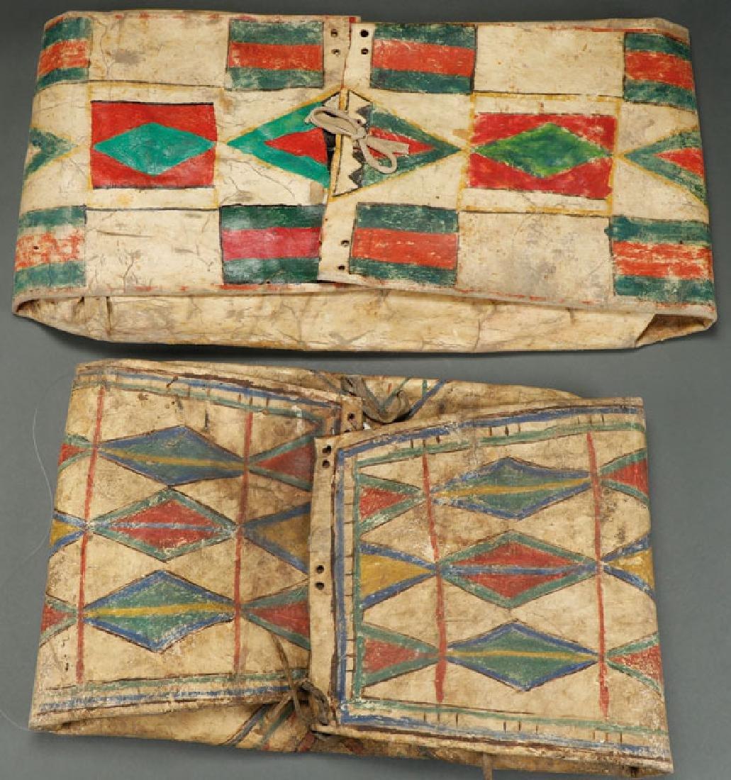A PAIR OF PLAINS POLYCHROME PARFLECHE BAGS