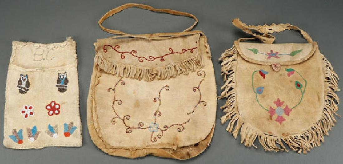 GROUP OF 3 LIKELY CREE BEADED AND EMBROIDERD BAGS