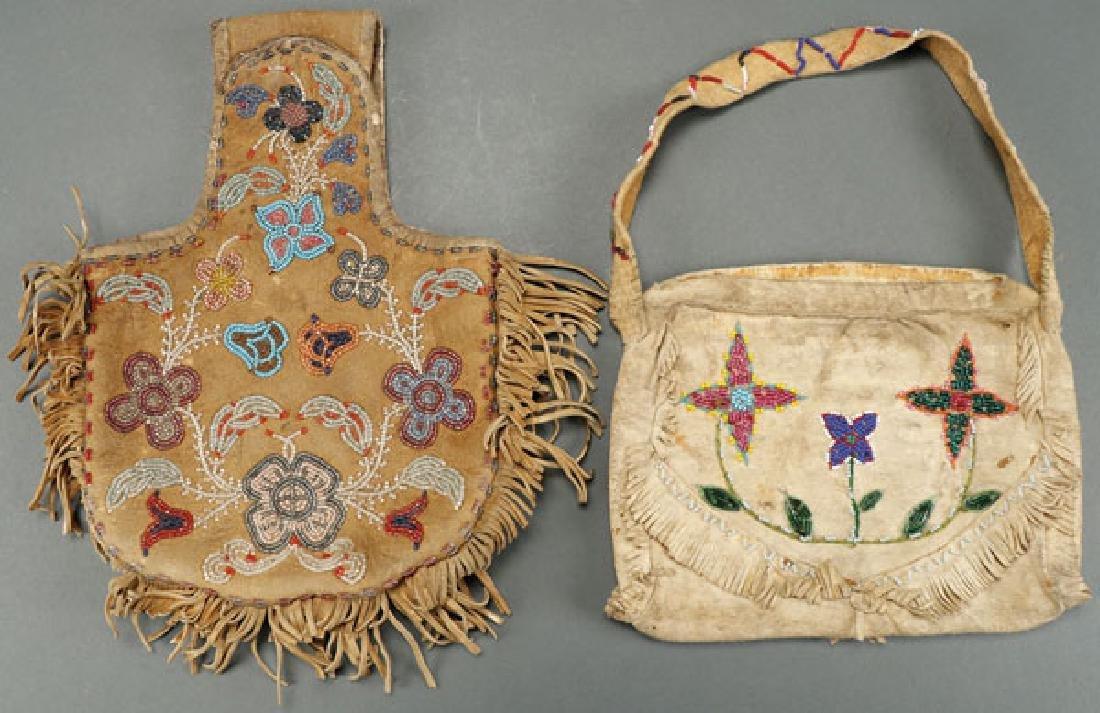 A PAIR OF CREE BEADED MOOSE HIDE BAGS, CIRCA 1900