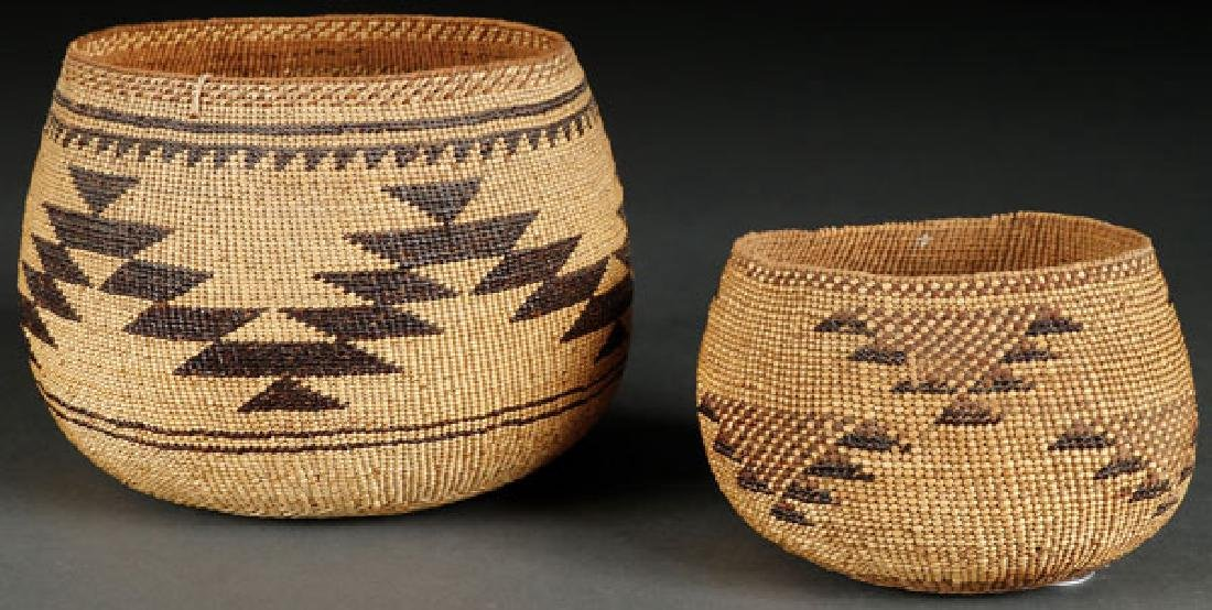 A PAIR OF VERY FINE HUPA BASKETRY BOWLS