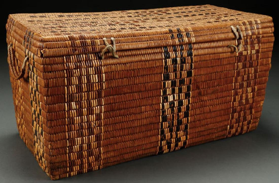 LARGE SALISH WOVEN LIDDED STORAGE BASKET C. 1890