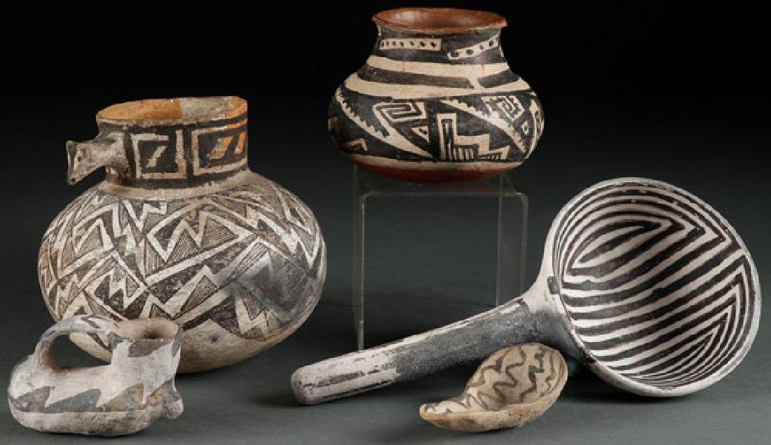 A GROUP OF FIVE SOUTHWEST PREHISTORIC POTTERY