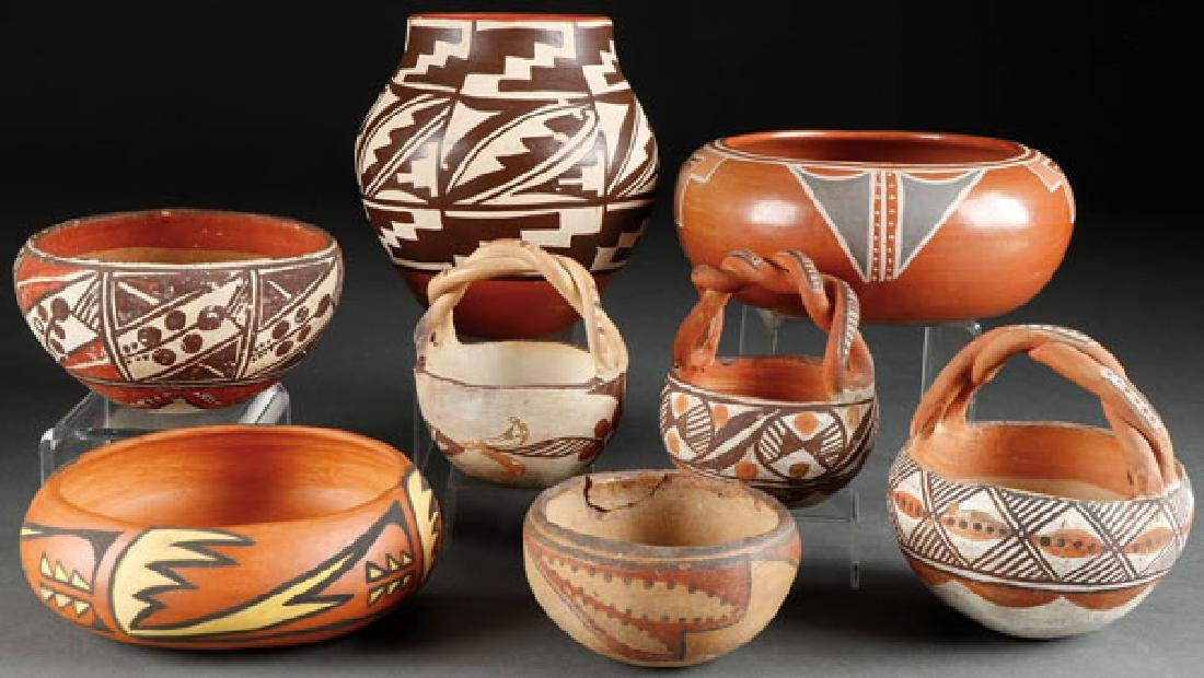 A GROUP OF EIGHT SOUTHWEST POLYCHROME POTTERY