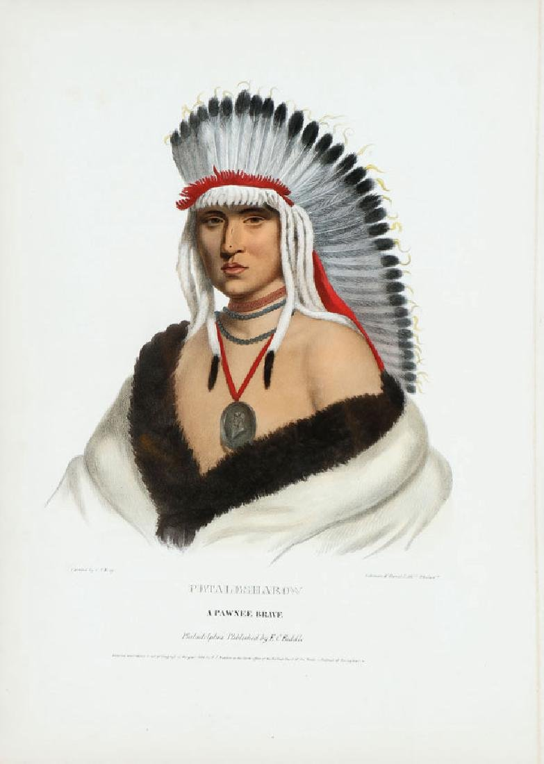 A HAND COLORED LITHOGRAPH OF AN INDIAN BRAVE