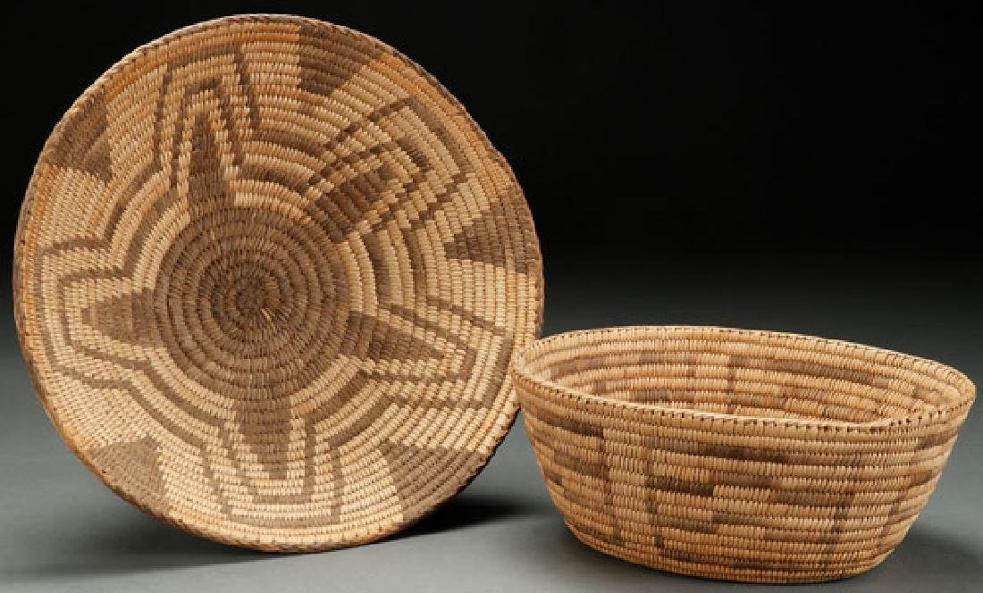 A PAIR OF GOOD PIMA WOVEN BASKETS, CIRCA 1900
