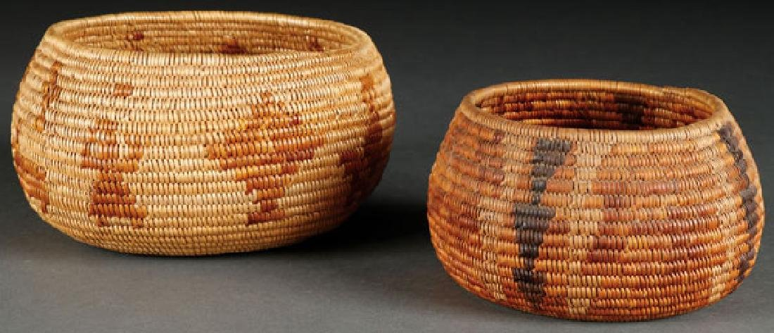 A PAIR OF MISSION BASKETRY BOWLS, CIRCA 1920