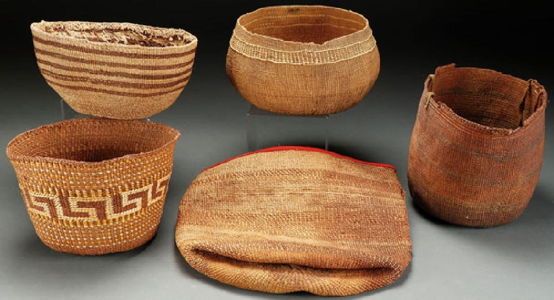 FIVE CALIFORNIAN TWINED BASKETRY ITEMS 1900-1920