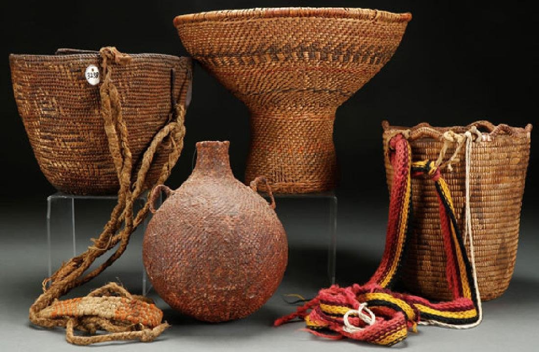 FOUR INTERESTING NATIVE AMERICAN WOVEN BASKETS