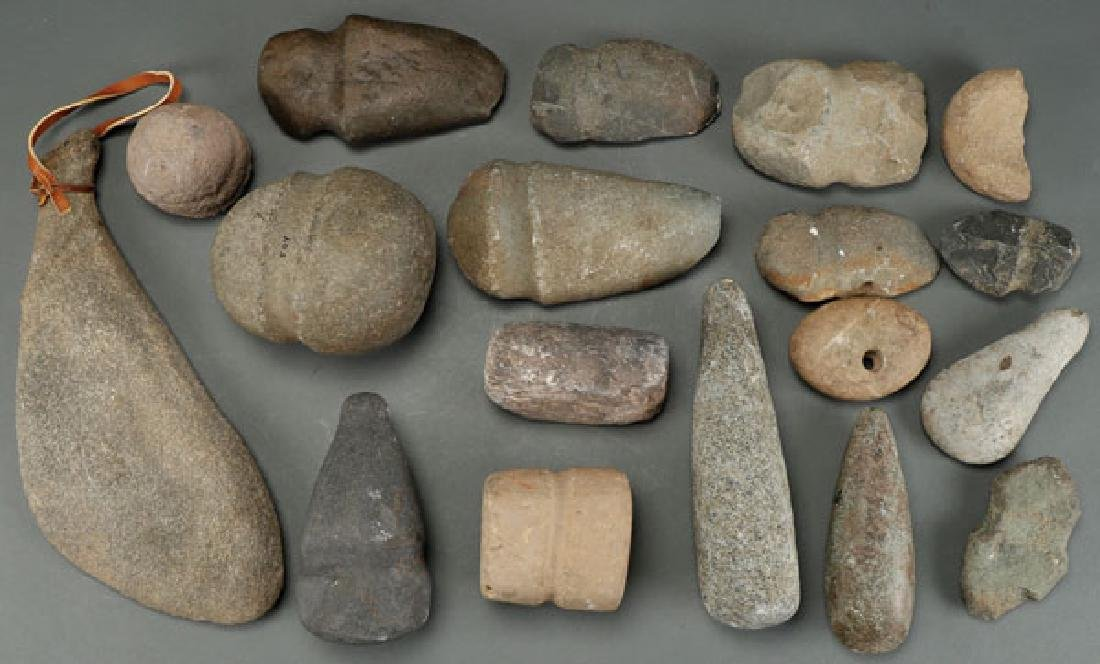 A GROUP OF 18 STONE ARTIFACTS