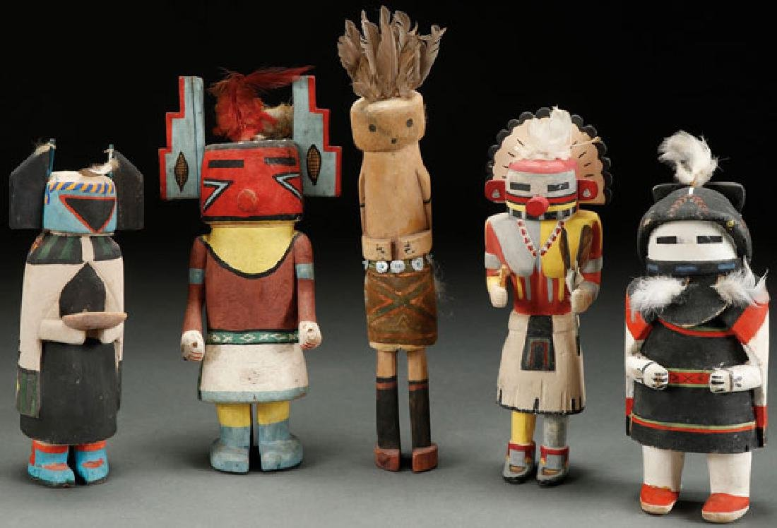 A GROUP OF FIVE KACHINAS, 1ST HALF OF 20TH C