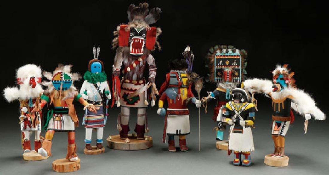 A GROUP OF EIGHT KACHINAS