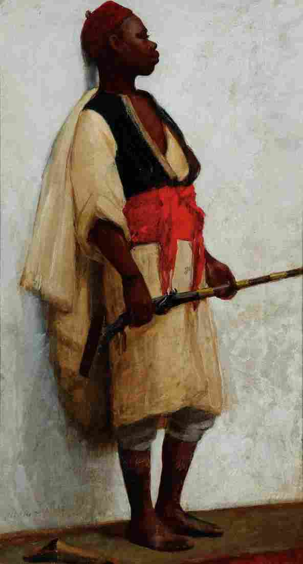 19TH CENTURY SIGNED ARAB GENRE OIL PAINTING