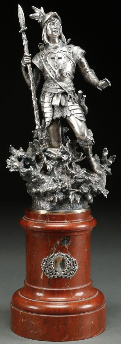 A STERLING SILVER FIGURE OF ST. HUBERTUS, GERMAN