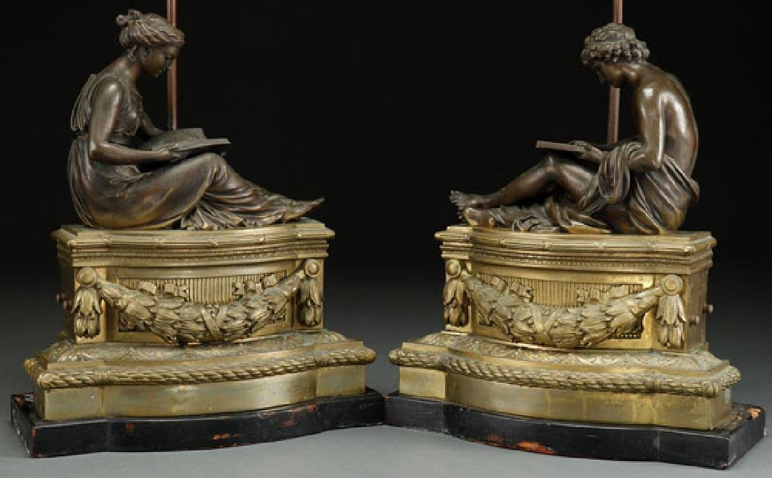 A PAIR OF FRENCH BRONZE SCULPTED FIGURES, 19TH C