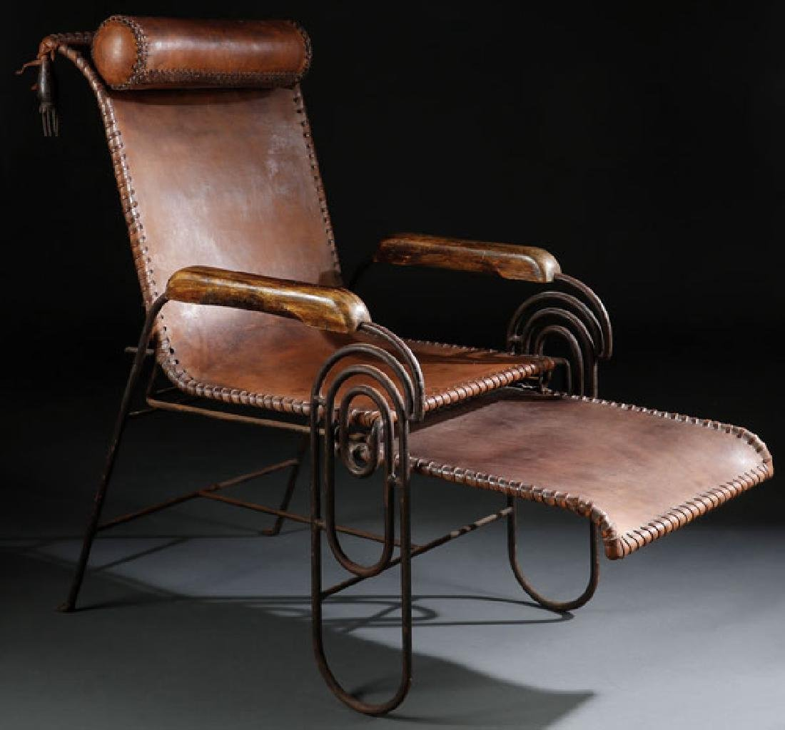 UNIQUE WROUGHT IRON & LEATHER SPRING LOUNGE CHAIR C1900
