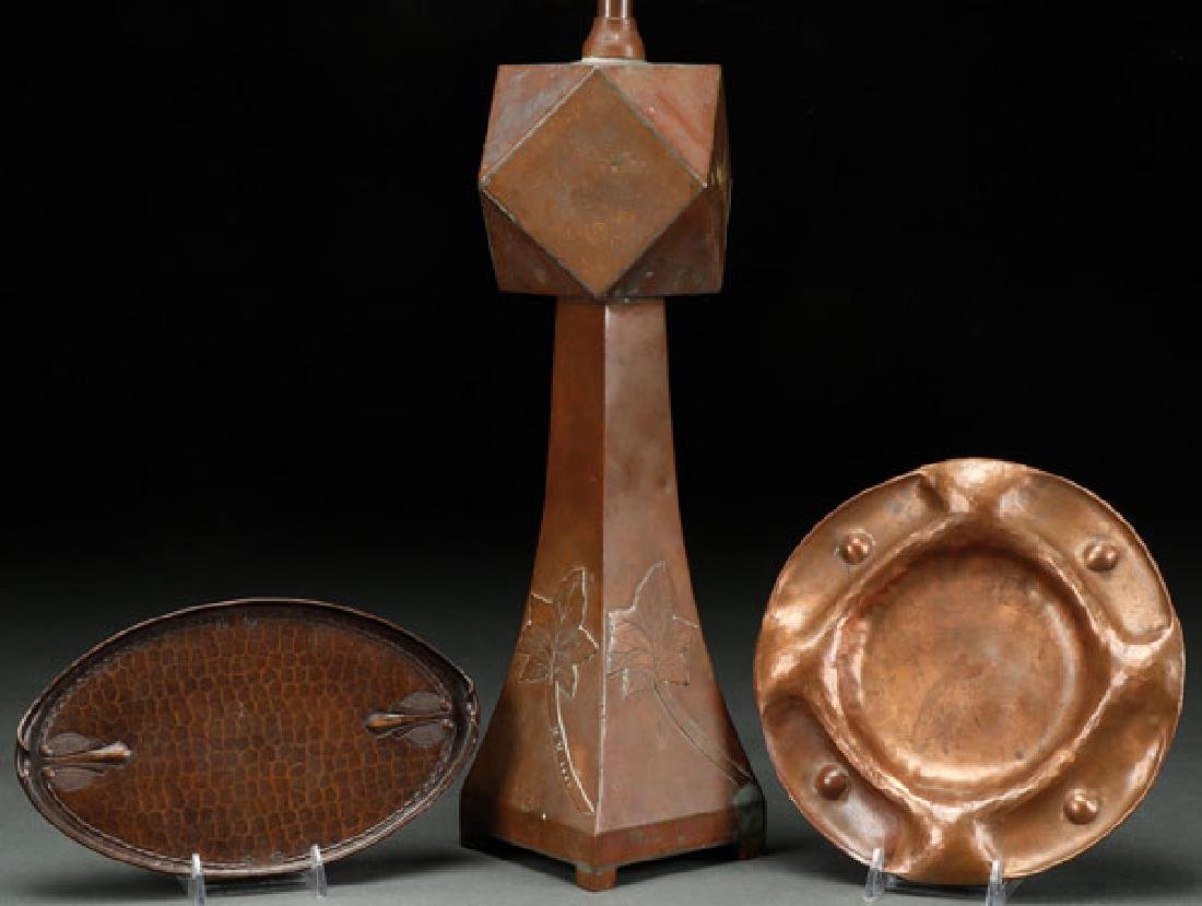 A THREE PIECE ARTS AND CRAFTS COPPER GROUP