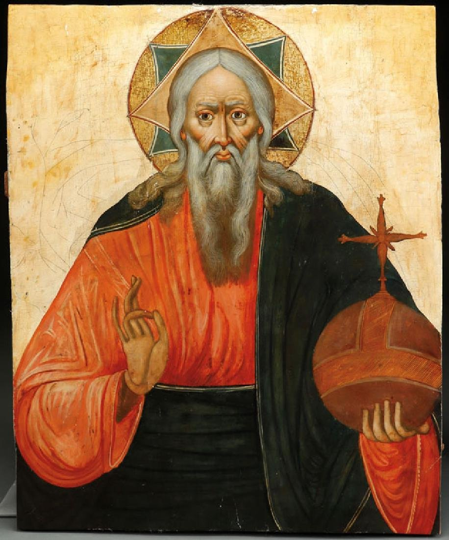 A RARE RUSSIAN ICON OF GOD THE FATHER, CIRCA 1690