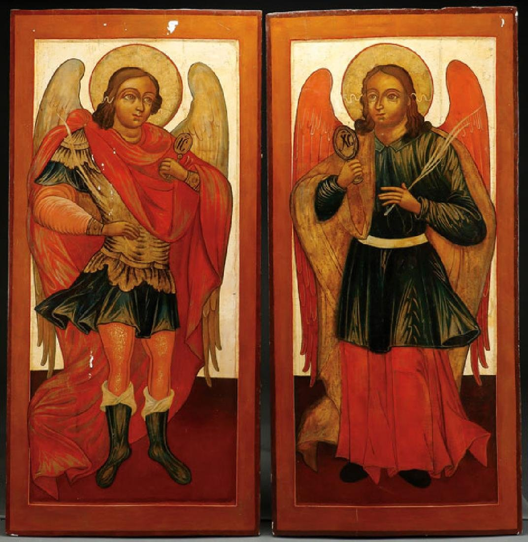 A PAIR OF LARGE RUSSIAN ANGEL ICONS, 18TH CENTURY