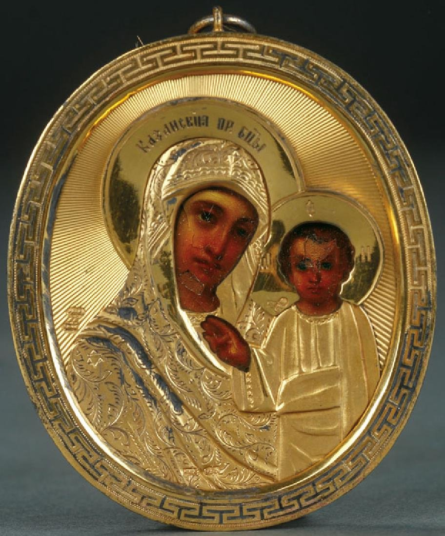 A RUSSIAN ICON PENDANT OF THE KAZAN MOTHER OF GOD