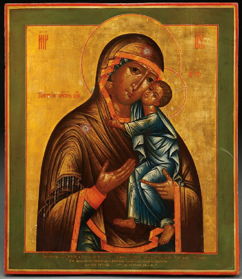 A FINE RUSSIAN ICON OF THE TOLGA MOTHER OF GOD