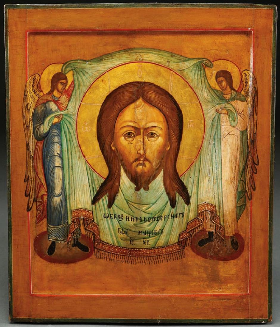 A RUSSIAN ICON OF THE NOT MADE BY HANDS IMAGE