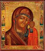 A RUSSIAN ICON OF THE KAZAN MOTHER OF GOD