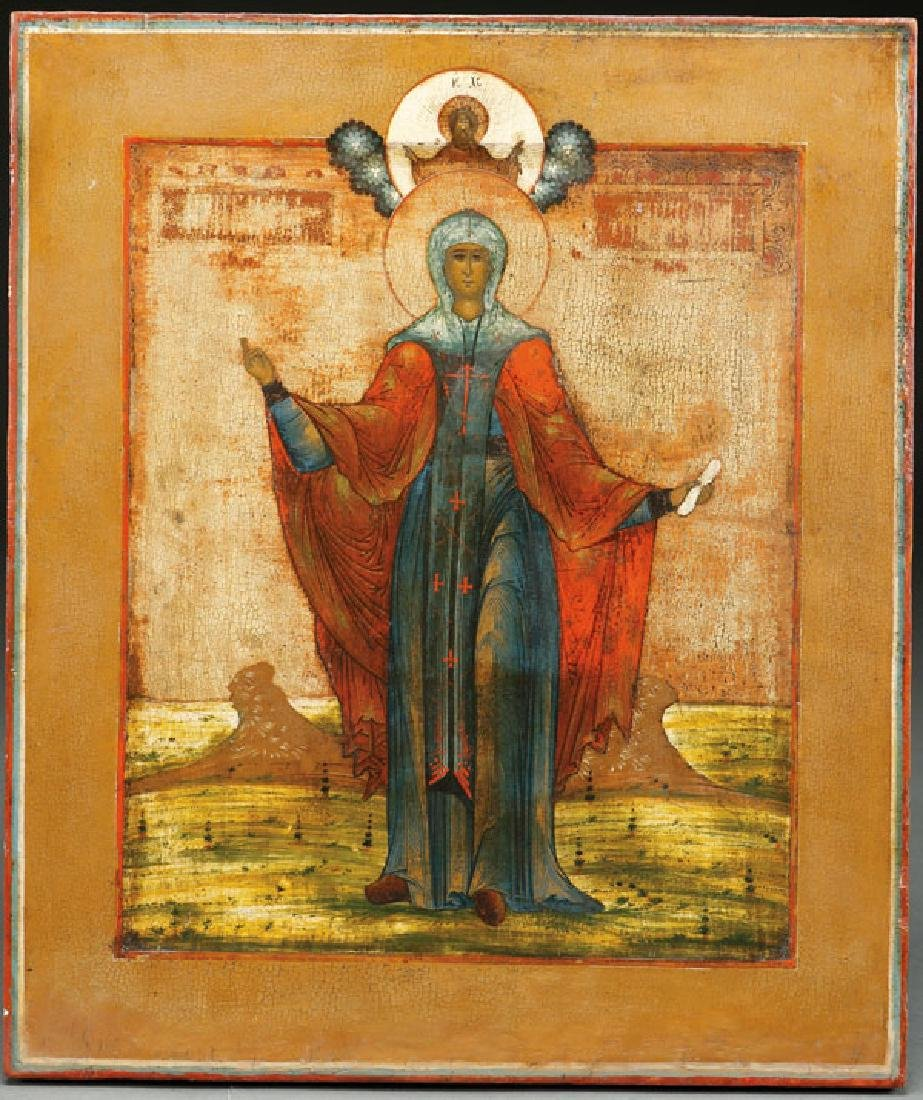 A RUSSIAN ICON OF ST. PARASKEVA, 19TH CENTURY