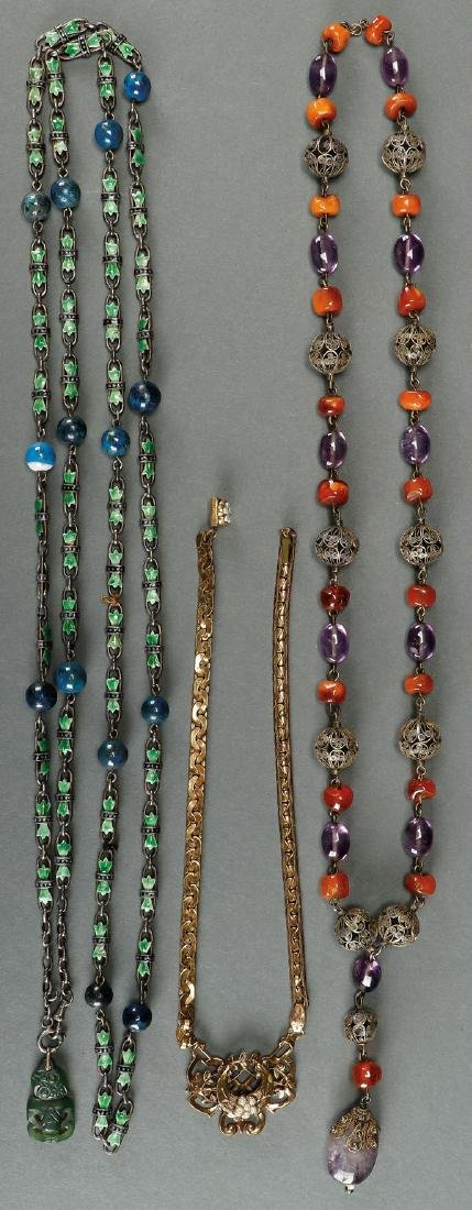 A FINE THREE PIECE GROUP OF VINTAGE JEWELRY