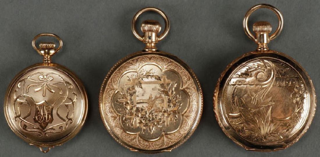THREE WALTHAM 14K GOLD HUNTING CASE POCKET WATCH