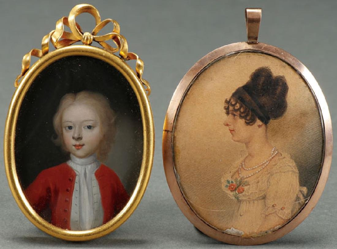 A PAIR OF MINIATURE PORTRAITS, 18TH AND 19TH C