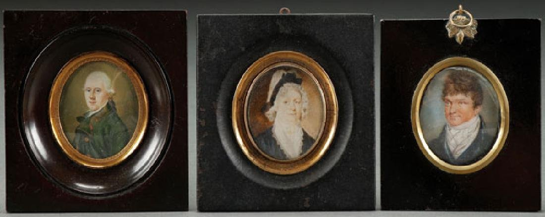 A GROUP OF THREE MINIATURE PORTRAITS, 18TH C