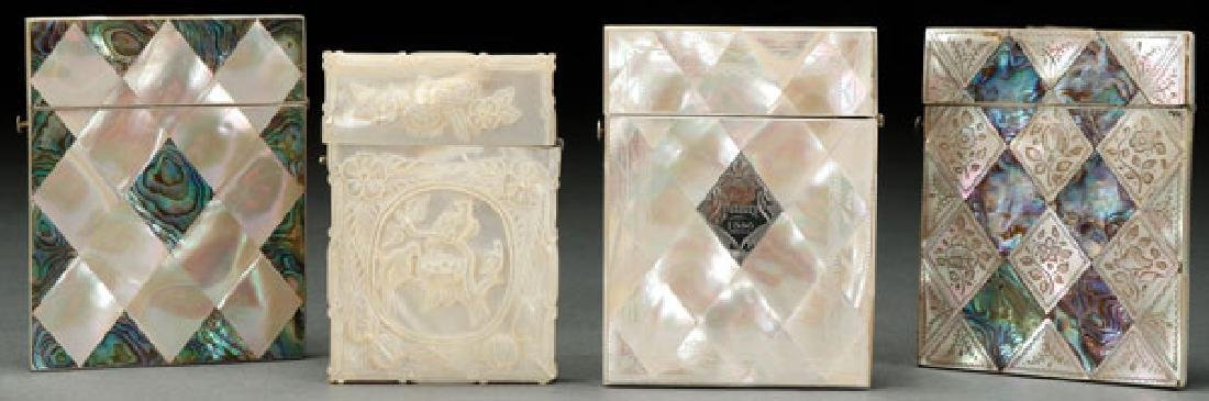 FOUR VICTORIAN MOTHER OF PEARL CARD CASES