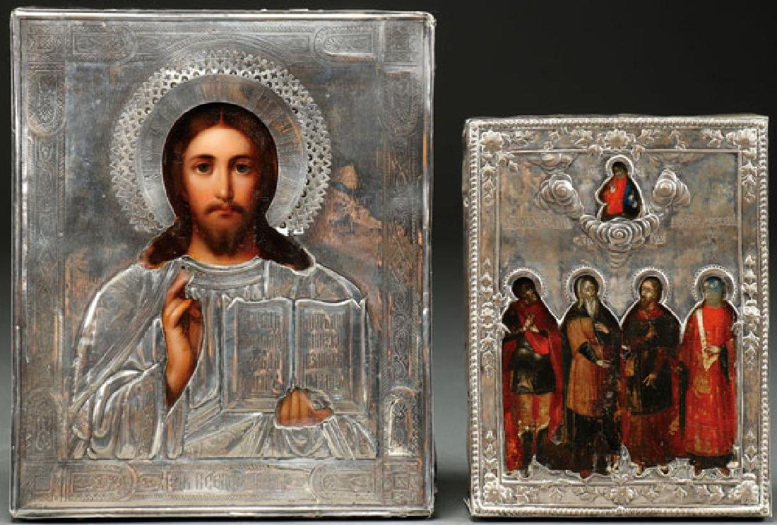 A PAIR OF RUSSIAN ICONS, 18TH AND 19TH CENTURY