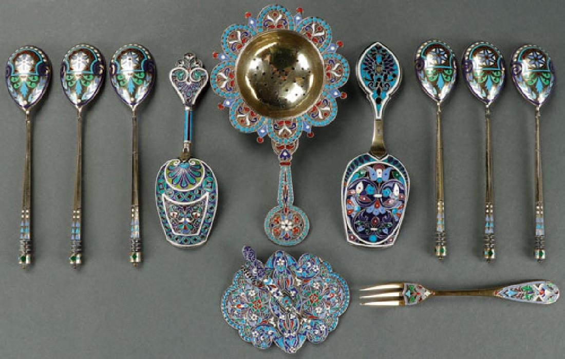 ELEVEN PIECES OF IMPERIAL RUSSIAN PERIOD SILVER
