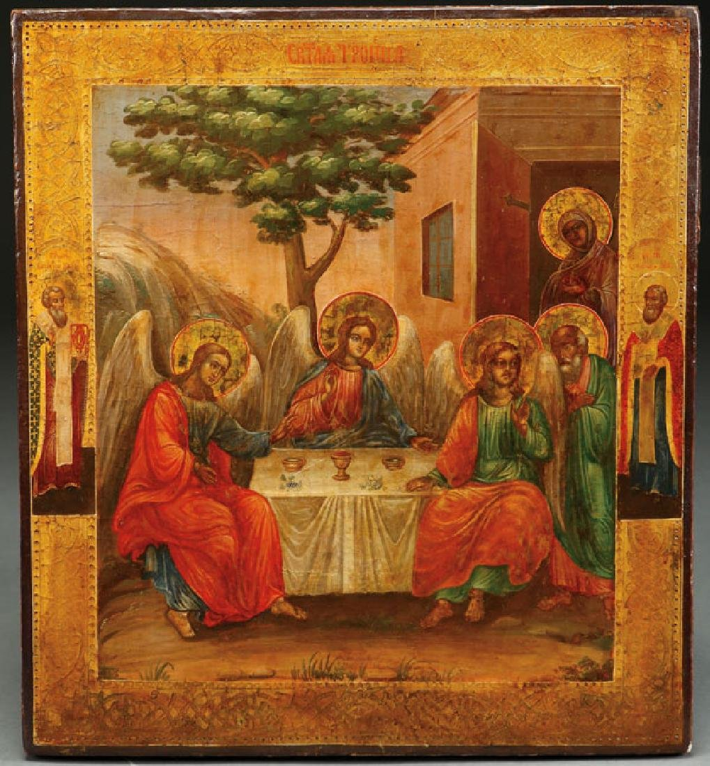 A RUSSIAN ICON OF THE OLD TESTAMENT TRINITY