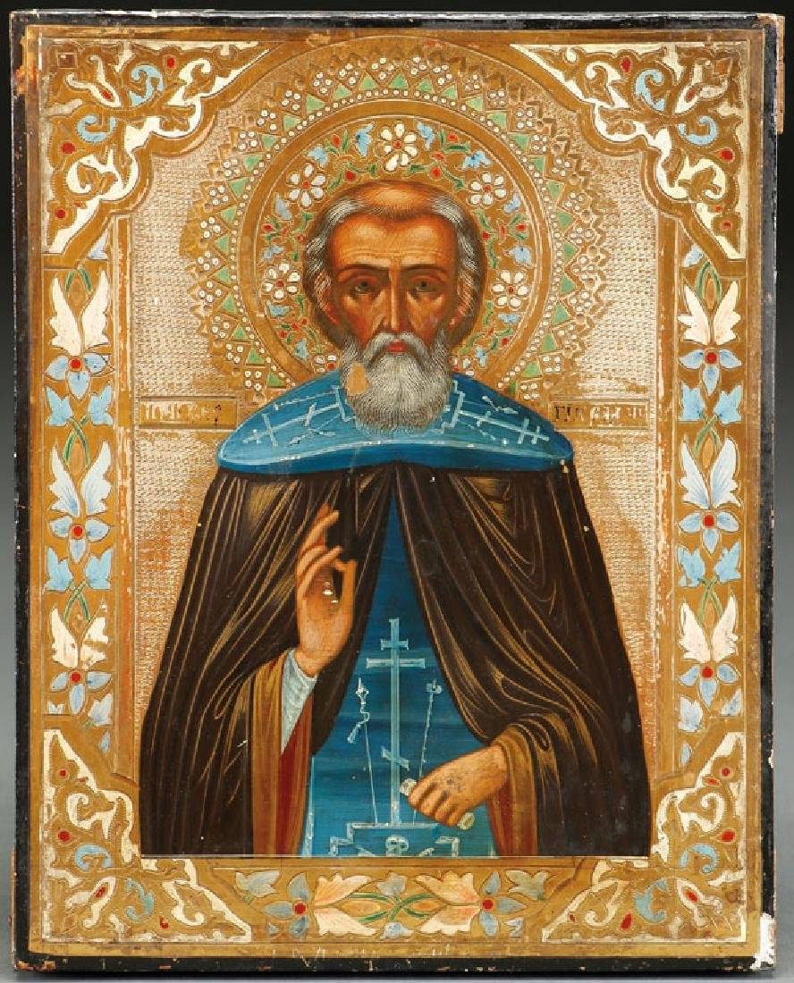 A RUSSIAN ICON OF ST. SERGIY OF RADONEZH