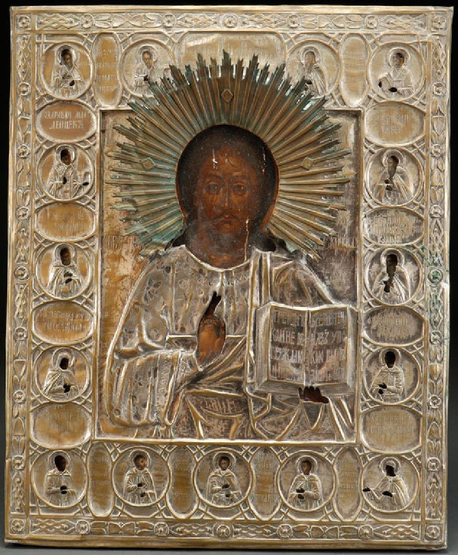 A LARGE RUSSIAN ICON OF CHRIST, 19TH CENTURY
