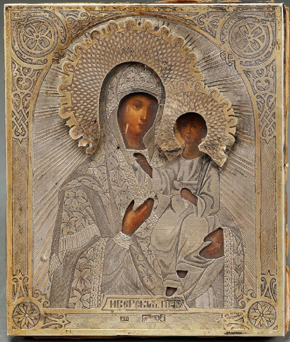 A RUSSIAN ICON OF THE IVERSKAYA MOTHER OF GOD