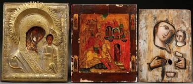 A GROUP OF THREE RUSSIAN ICONS CIRCA 1875