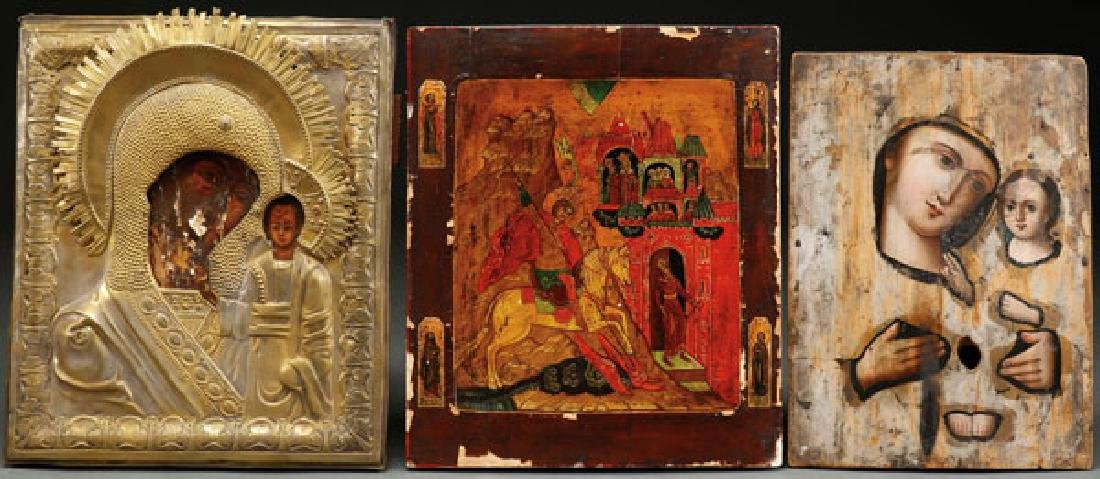 A GROUP OF THREE RUSSIAN ICONS, CIRCA 1875