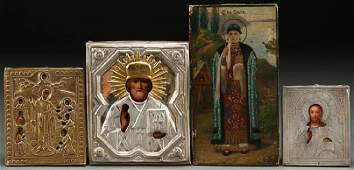 A GROUP OF FOUR RUSSIAN ICONS CIRCA 1875  1900