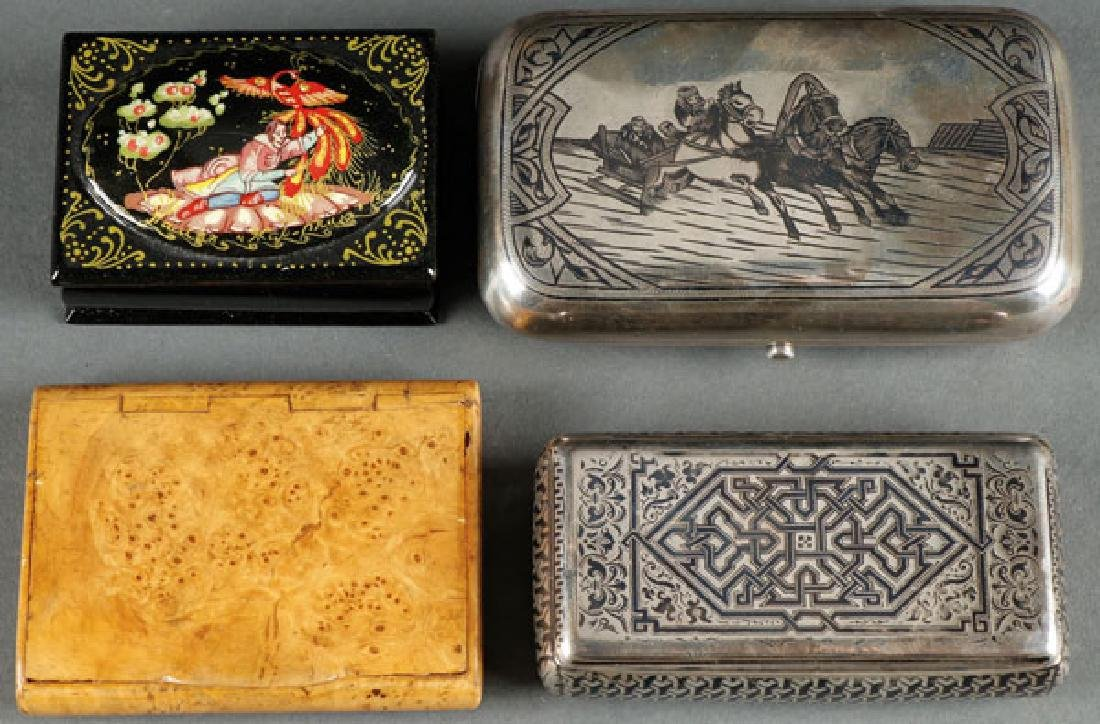 A GROUP OF FOUR RUSSIAN BOXES, 19TH AND 20TH C