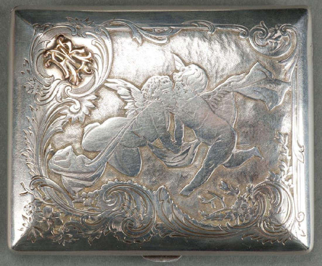 A RUSSIAN SILVER AND GOLD MOUNTED CIGARETTE CASE