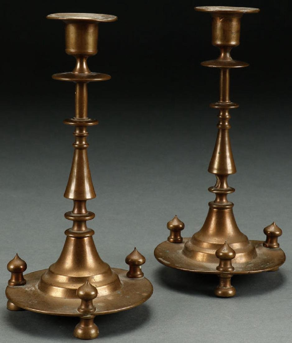 A PAIR OF RUSSIAN FOOTED CANDLESTICKS, UDIN