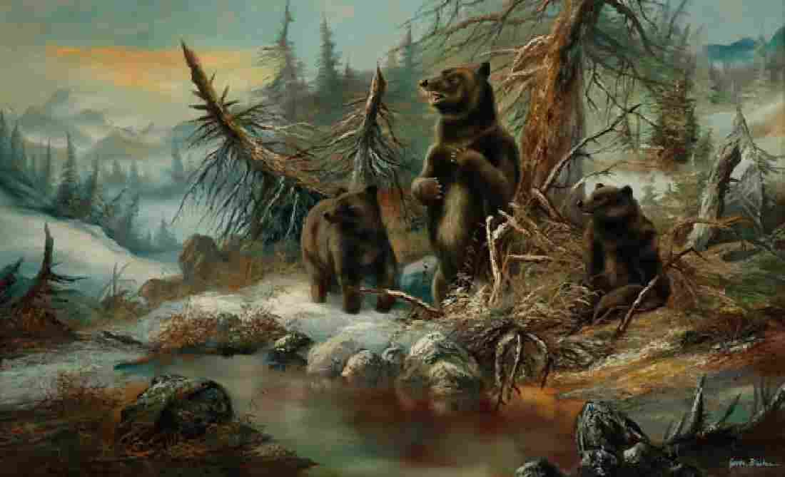 LARGE GERMAN BEARS IN FOREST PAINTING SIGNED