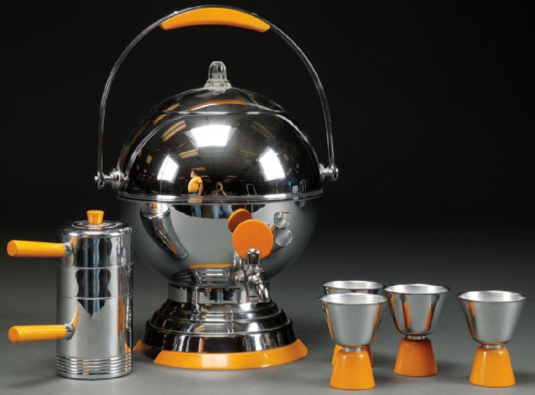 A MANNING-BOWMAN ART DECO CHROME COFFEE URN