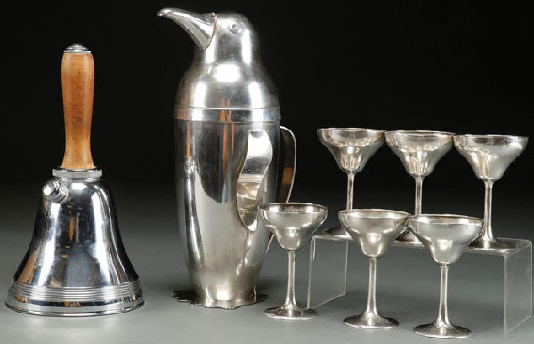 AN EIGHT PIECE STERLING AND SILVER PLATE COCKTAIL