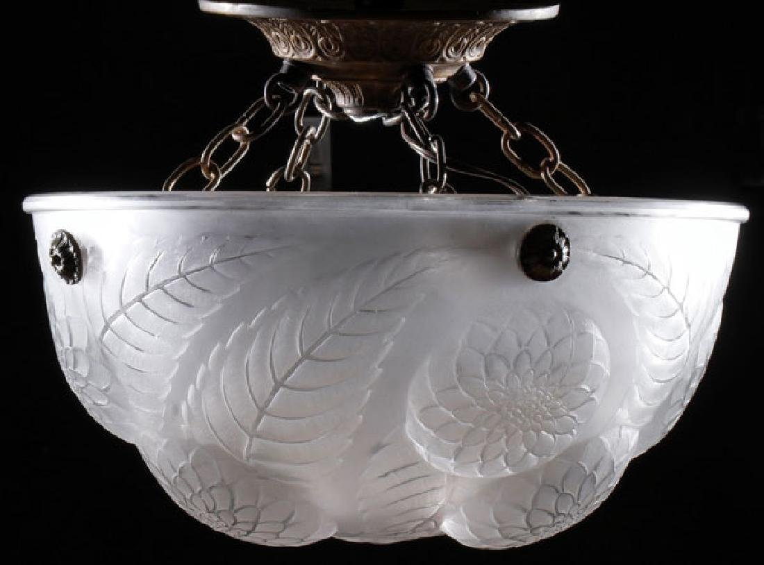 A GOOD FRENCH FROSTED AND MOLDED GLASS HANGING